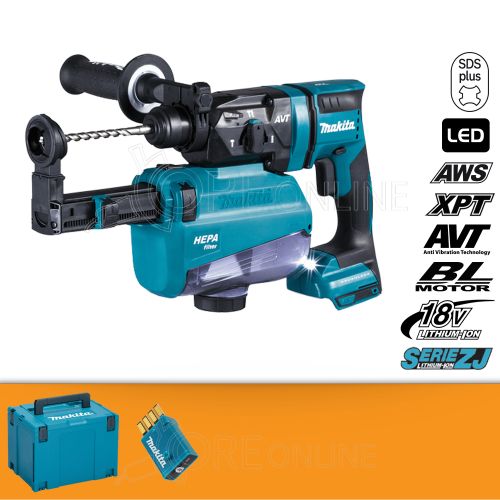 Makita Tassellatore bluetooth SDS-PLUS DHR182ZWJU + ASPIRAZIONE + KIT ENERGY