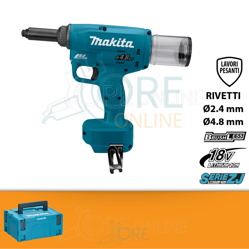 Rivettatrice a batteria Makita DRV150ZJ Ø 4.8 m + KIT ENERGY 191A24-4